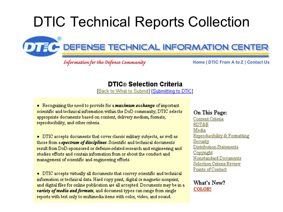 DTIC Technical Reports Collection