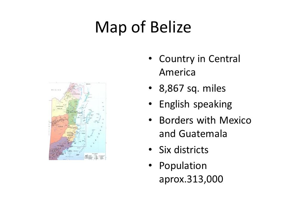 Map of Belize Country in Central America 8,867 sq.
