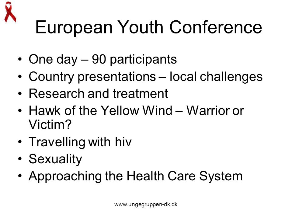 www.ungegruppen-dk.dk European Youth Conference One day – 90 participants Country presentations – local challenges Research and treatment Hawk of the Yellow Wind – Warrior or Victim.