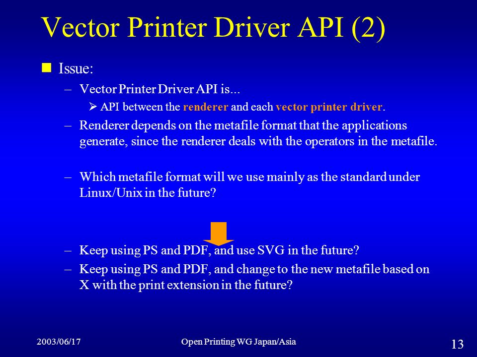 2003/06/17Open Printing WG Japan/Asia 13 Vector Printer Driver API (2) Issue: –Vector Printer Driver API is...