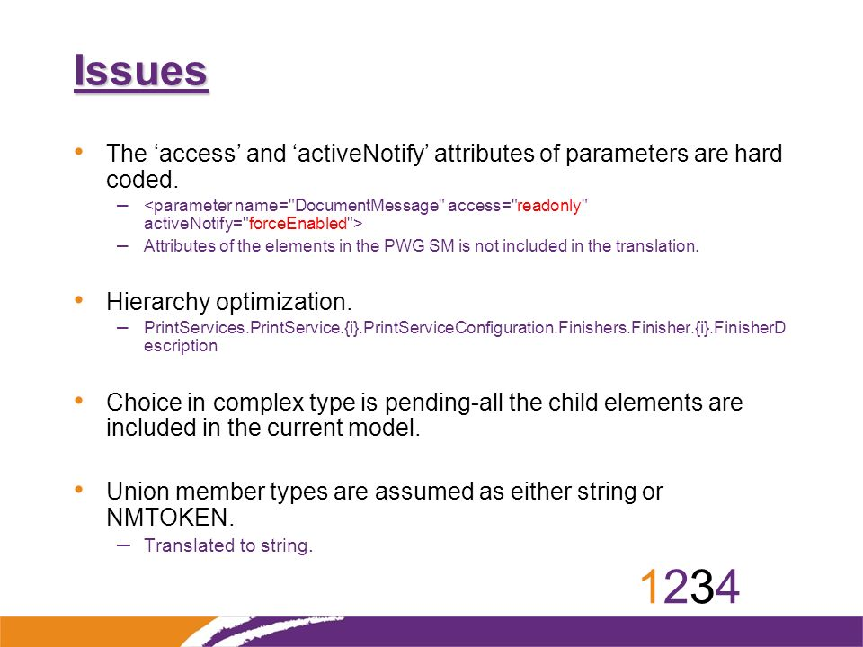 12341234 Issues The access and activeNotify attributes of parameters are hard coded.