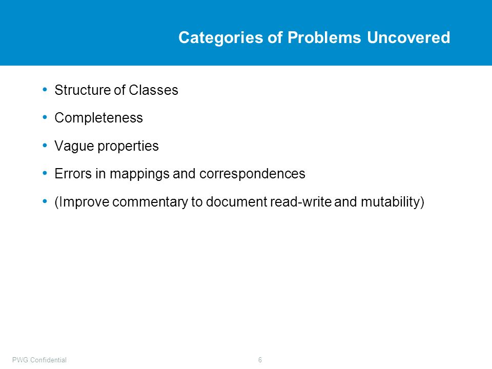 PWG Confidential6 Categories of Problems Uncovered Structure of Classes Completeness Vague properties Errors in mappings and correspondences (Improve commentary to document read-write and mutability)