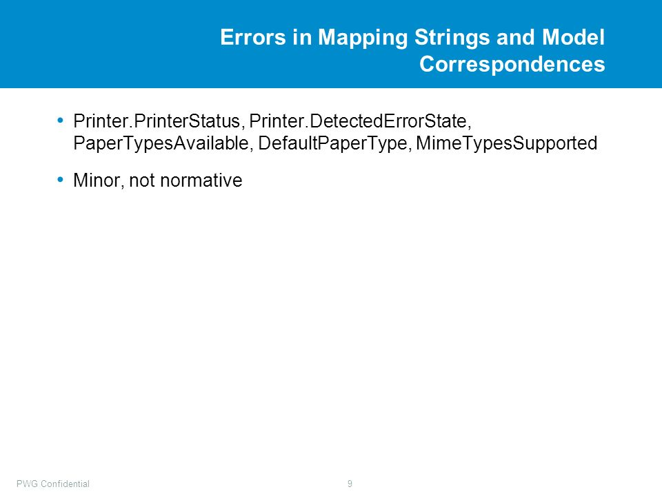 PWG Confidential9 Errors in Mapping Strings and Model Correspondences Printer.PrinterStatus, Printer.DetectedErrorState, PaperTypesAvailable, DefaultPaperType, MimeTypesSupported Minor, not normative