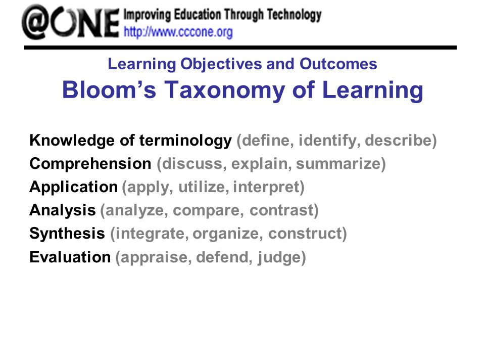 Learning Objectives and Outcomes Blooms Taxonomy of Learning Knowledge of terminology (define, identify, describe) Comprehension (discuss, explain, summarize) Application (apply, utilize, interpret) Analysis (analyze, compare, contrast) Synthesis (integrate, organize, construct) Evaluation (appraise, defend, judge)