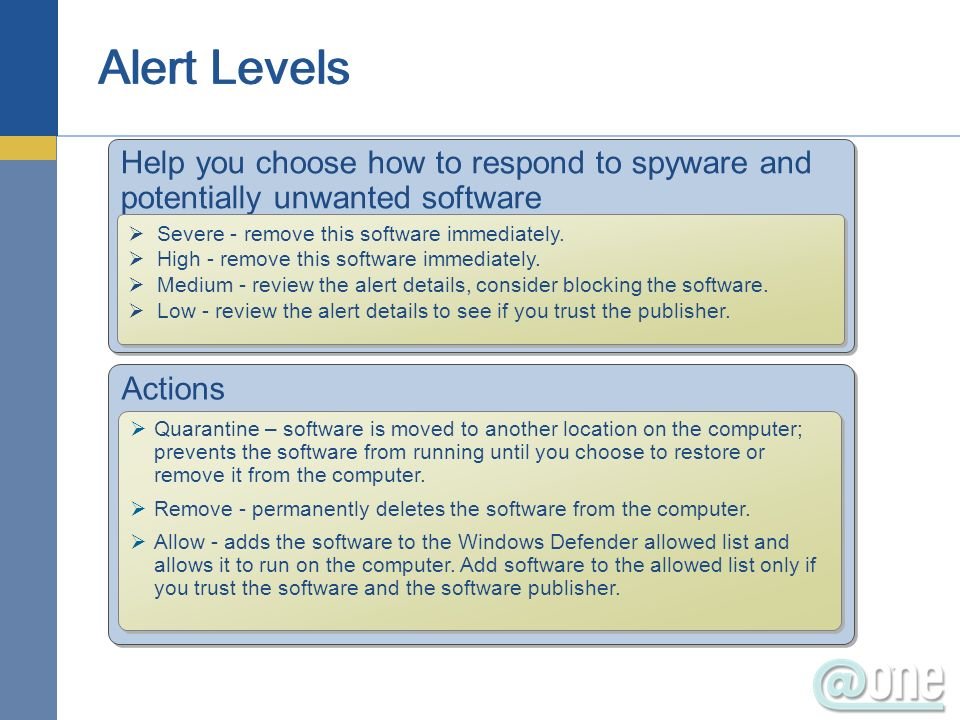 Help you choose how to respond to spyware and potentially unwanted software Severe - remove this software immediately.