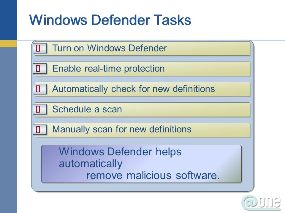 Turn on Windows Defender Enable real-time protection Automatically check for new definitions Schedule a scan Manually scan for new definitions Windows Defender helps automatically remove malicious software.