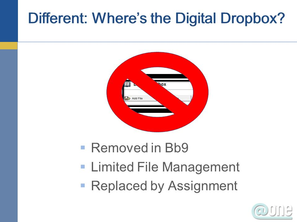 Removed in Bb9 Limited File Management Replaced by Assignment