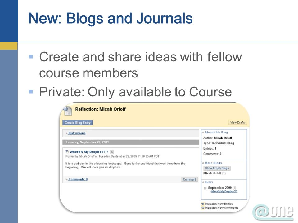 New: Blogs and Journals Create and share ideas with fellow course members Private: Only available to Course