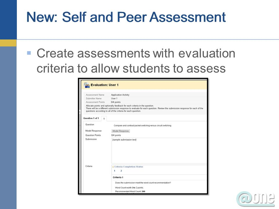 New: Self and Peer Assessment Create assessments with evaluation criteria to allow students to assess