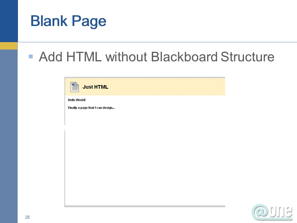 Add HTML without Blackboard Structure 28