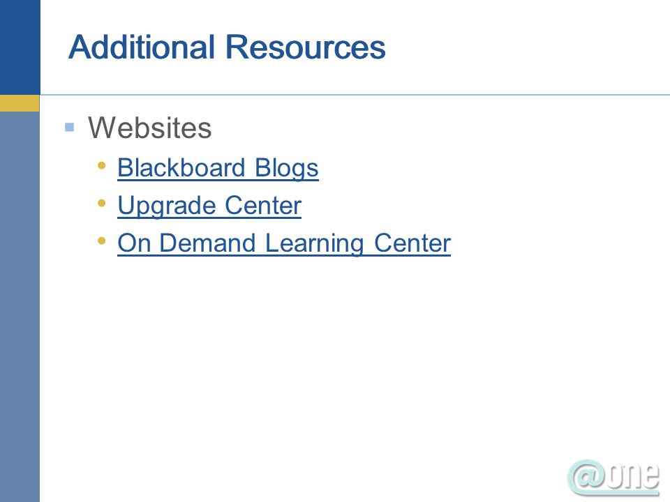 Websites Blackboard Blogs Upgrade Center On Demand Learning Center