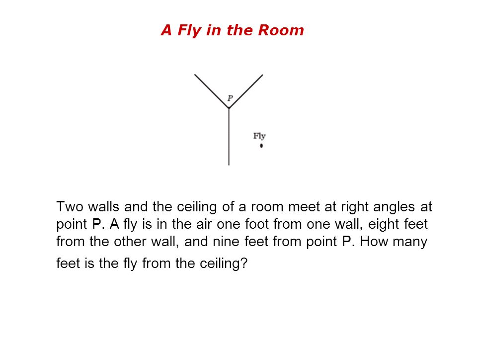 A Fly in the Room Two walls and the ceiling of a room meet at right angles at point P.