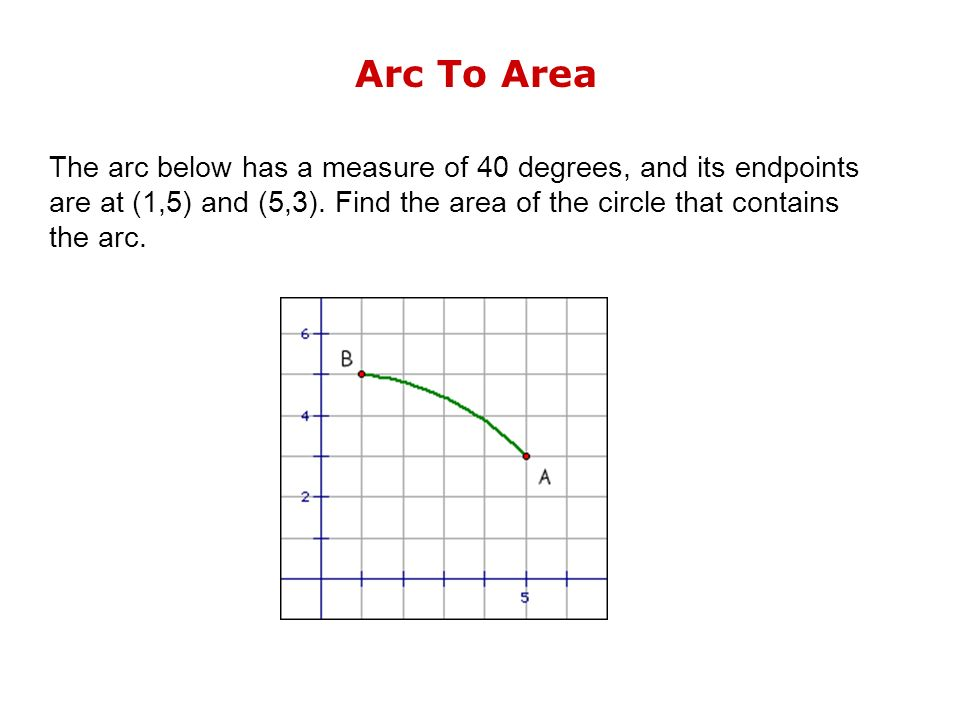 Arc To Area The arc below has a measure of 40 degrees, and its endpoints are at (1,5) and (5,3).