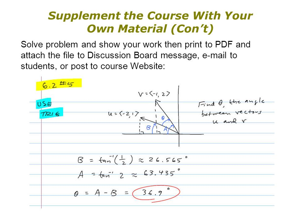 Supplement the Course With Your Own Material (Cont) Solve problem and show your work then print to PDF and attach the file to Discussion Board message, e-mail to students, or post to course Website: