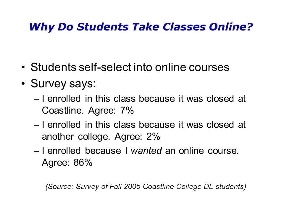 Why Do Students Take Classes Online.