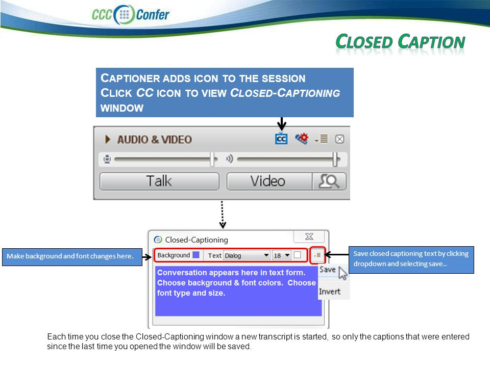C APTIONER ADDS ICON TO THE SESSION C LICK CC ICON TO VIEW C LOSED -C APTIONING WINDOW Make background and font changes here.