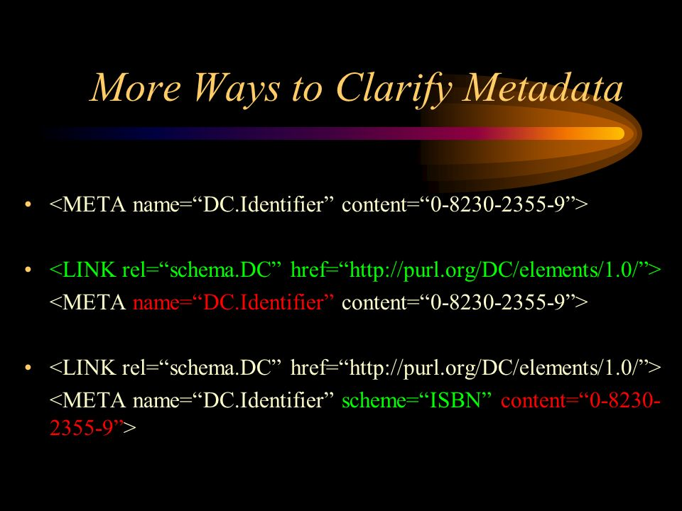 More Ways to Clarify Metadata