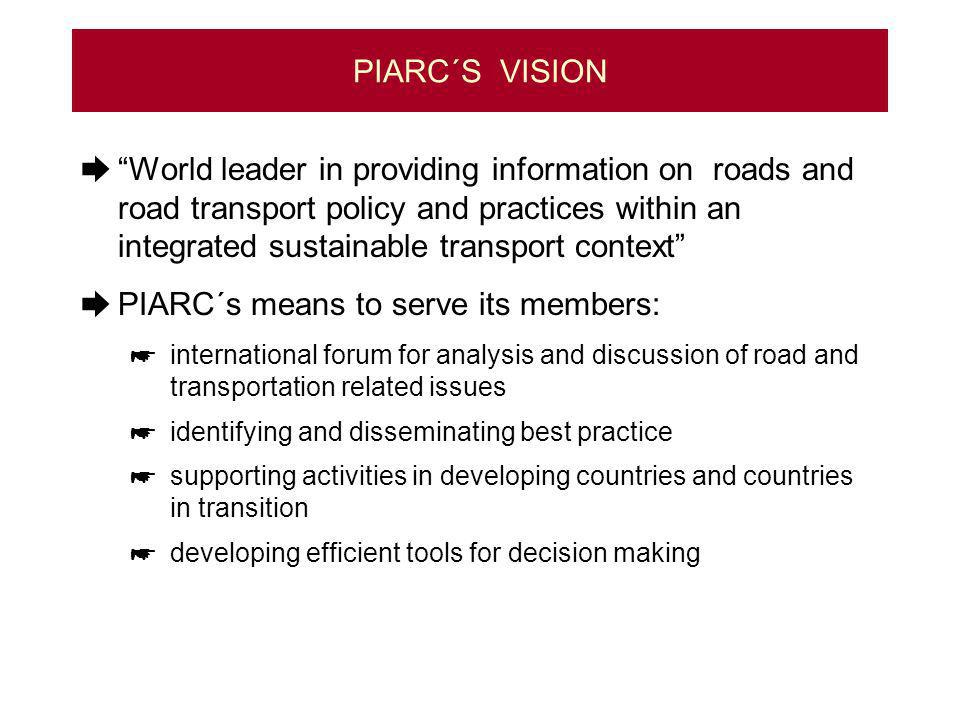 PIARC´S VISION World leader in providing information on roads and road transport policy and practices within an integrated sustainable transport context PIARC´s means to serve its members: international forum for analysis and discussion of road and transportation related issues identifying and disseminating best practice supporting activities in developing countries and countries in transition developing efficient tools for decision making