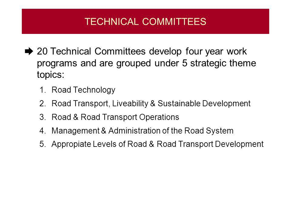 TECHNICAL COMMITTEES 20 Technical Committees develop four year work programs and are grouped under 5 strategic theme topics: 1.Road Technology 2.Road Transport, Liveability & Sustainable Development 3.Road & Road Transport Operations 4.Management & Administration of the Road System 5.Appropiate Levels of Road & Road Transport Development
