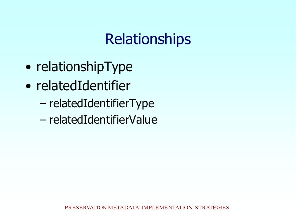PRESERVATION METADATA: IMPLEMENTATION STRATEGIES Relationships relationshipType relatedIdentifier –relatedIdentifierType –relatedIdentifierValue