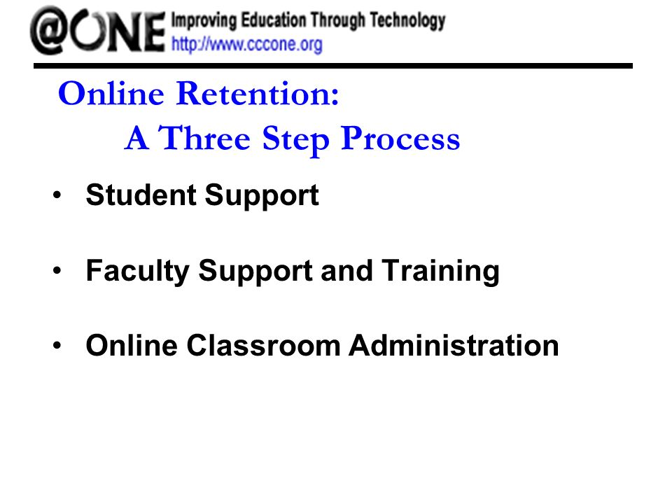 Online Retention: A Three Step Process Student Support Faculty Support and Training Online Classroom Administration