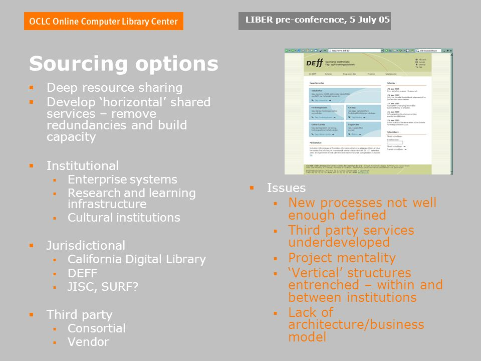 LIBER pre-conference, 5 July 05 Sourcing options Deep resource sharing Develop horizontal shared services – remove redundancies and build capacity Institutional Enterprise systems Research and learning infrastructure Cultural institutions Jurisdictional California Digital Library DEFF JISC, SURF.
