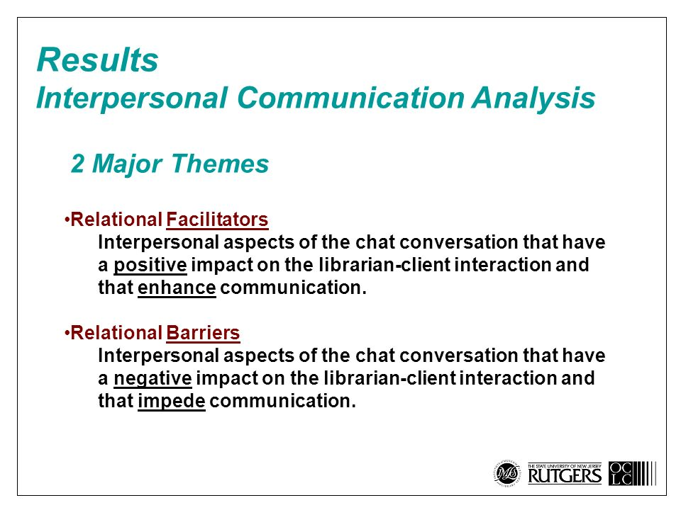 Relational Facilitators Interpersonal aspects of the chat conversation that have a positive impact on the librarian-client interaction and that enhance communication.