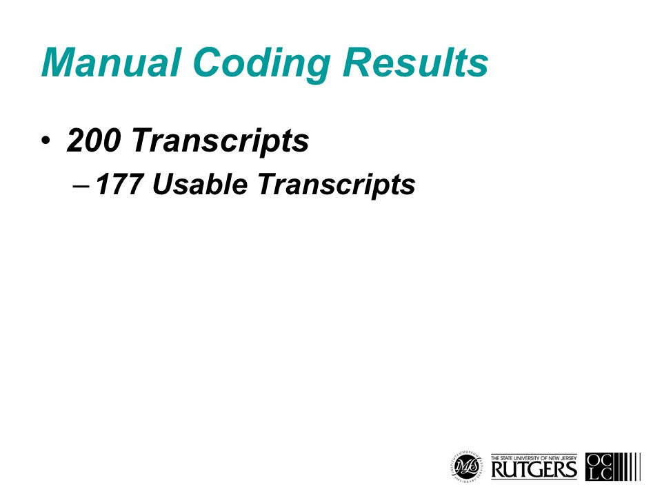 Manual Coding Results 200 Transcripts –177 Usable Transcripts