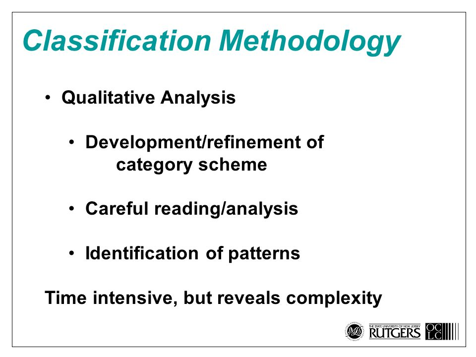 Classification Methodology Qualitative Analysis Development/refinement of category scheme Careful reading/analysis Identification of patterns Time intensive, but reveals complexity