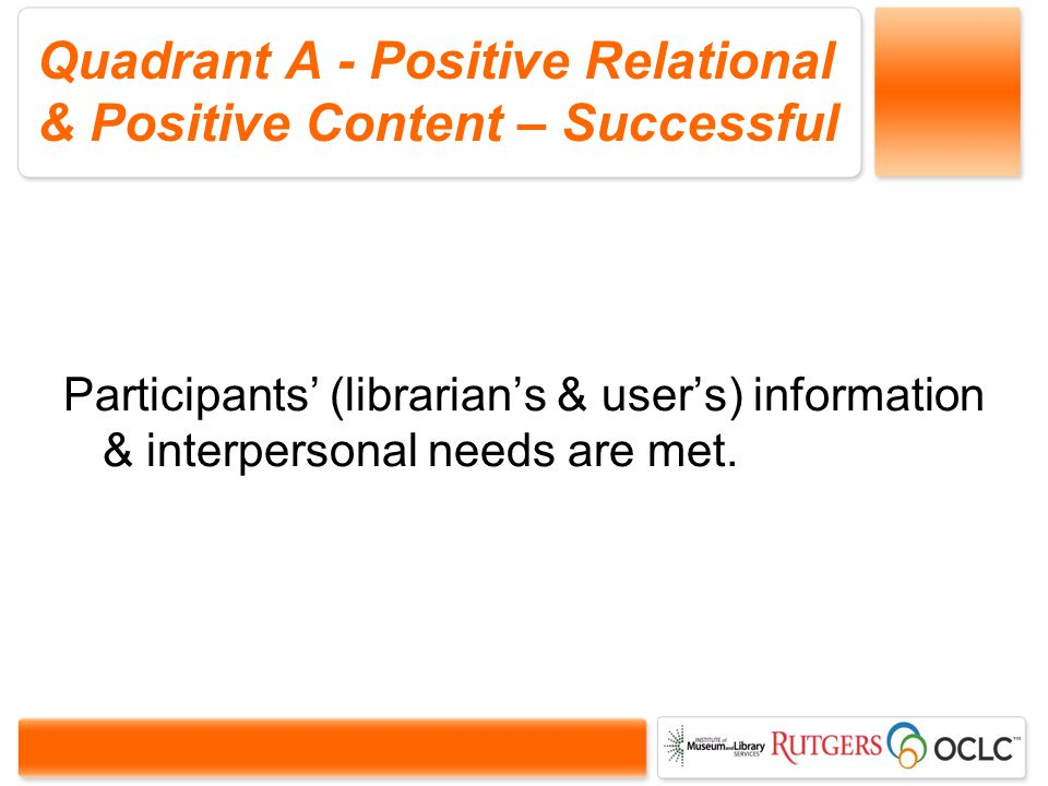 Quadrant A - Positive Relational & Positive Content – Successful Participants (librarians & users) information & interpersonal needs are met.