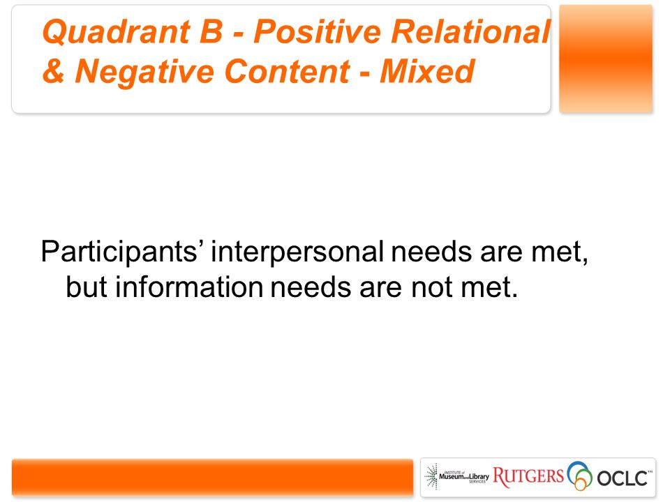 Quadrant B - Positive Relational & Negative Content - Mixed Participants interpersonal needs are met, but information needs are not met.