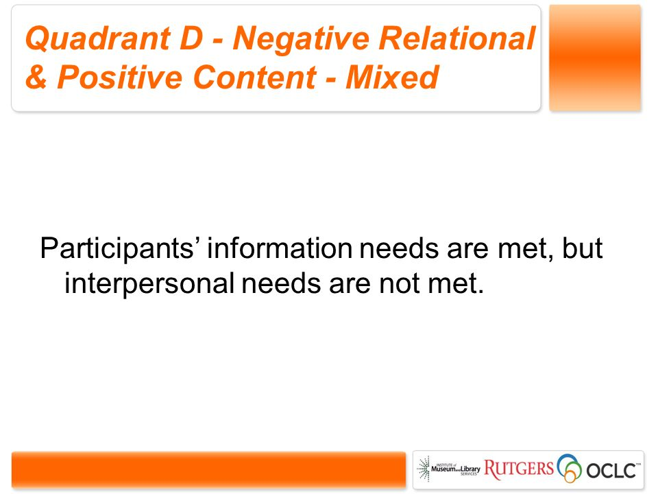 Quadrant D - Negative Relational & Positive Content - Mixed Participants information needs are met, but interpersonal needs are not met.