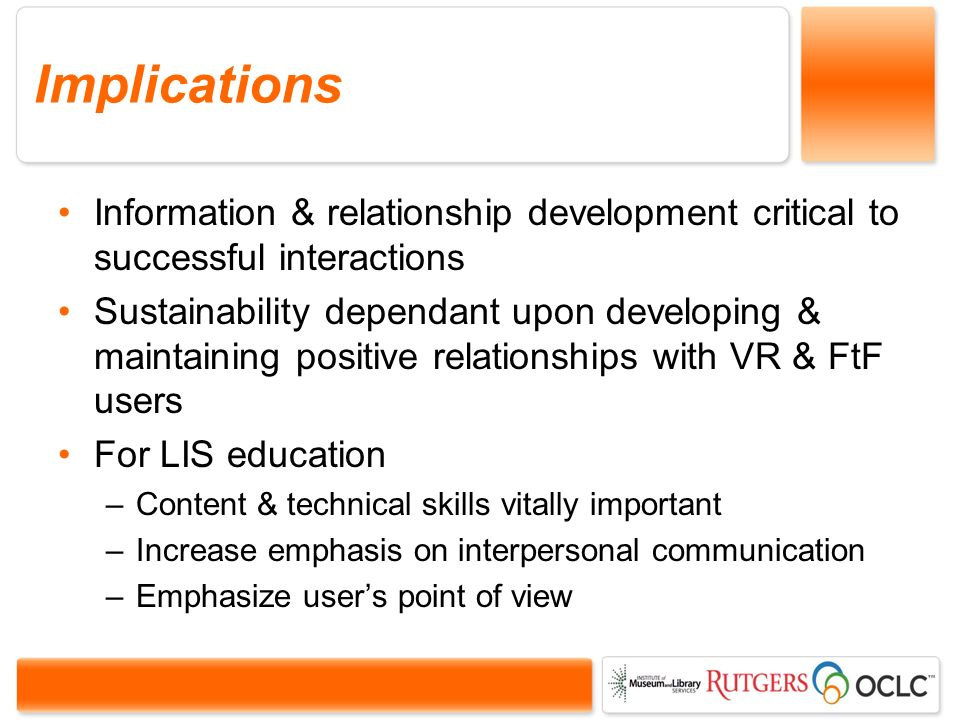 Implications Information & relationship development critical to successful interactions Sustainability dependant upon developing & maintaining positive relationships with VR & FtF users For LIS education –Content & technical skills vitally important –Increase emphasis on interpersonal communication –Emphasize users point of view
