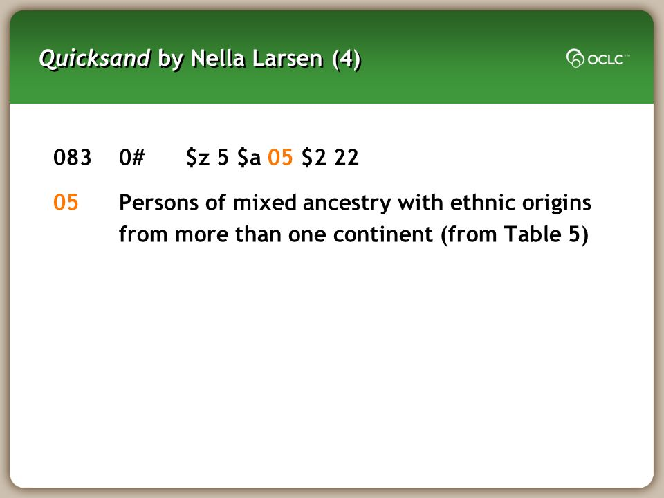 Quicksand by Nella Larsen (4) 0830#$z 5 $a 05 $2 22 05Persons of mixed ancestry with ethnic origins from more than one continent (from Table 5)