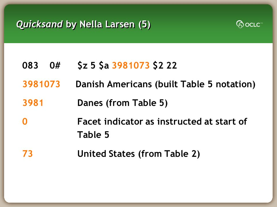 Quicksand by Nella Larsen (5) 0830#$z 5 $a 3981073 $2 22 3981073Danish Americans (built Table 5 notation) 3981Danes (from Table 5) 0Facet indicator as instructed at start of Table 5 73United States (from Table 2)
