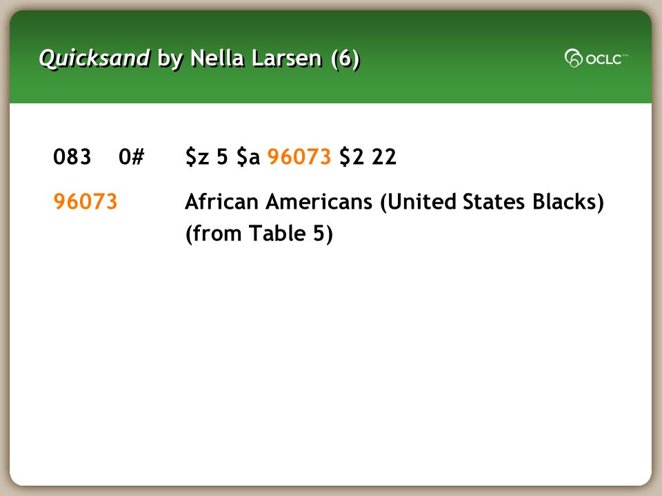 Quicksand by Nella Larsen (6) 0830#$z 5 $a 96073 $2 22 96073African Americans (United States Blacks) (from Table 5)