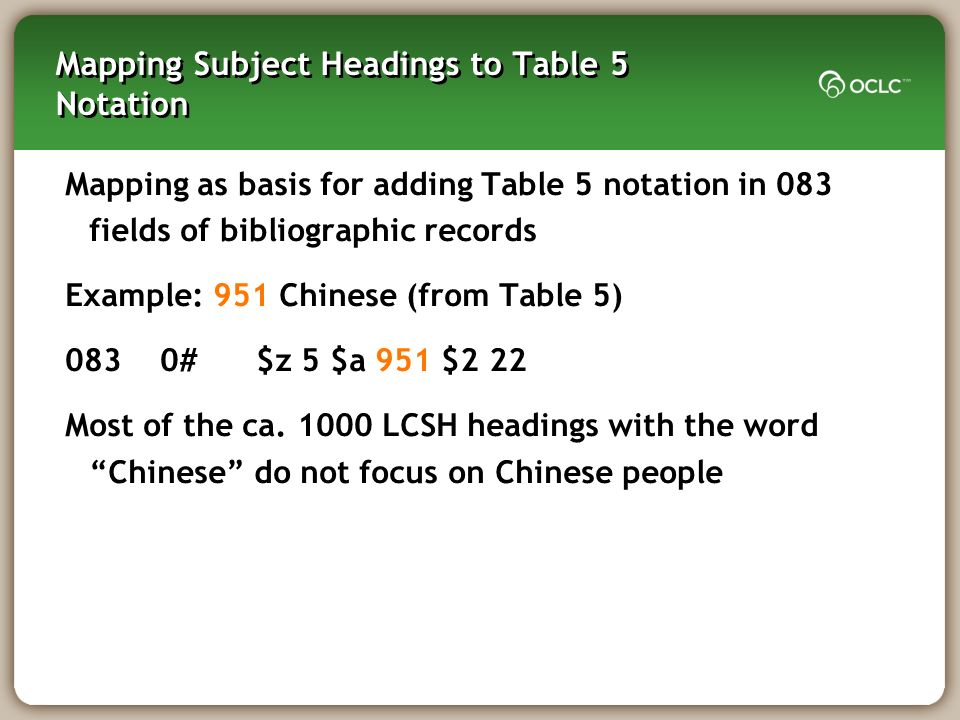 Mapping Subject Headings to Table 5 Notation Mapping as basis for adding Table 5 notation in 083 fields of bibliographic records Example: 951 Chinese (from Table 5) 0830#$z 5 $a 951 $2 22 Most of the ca.