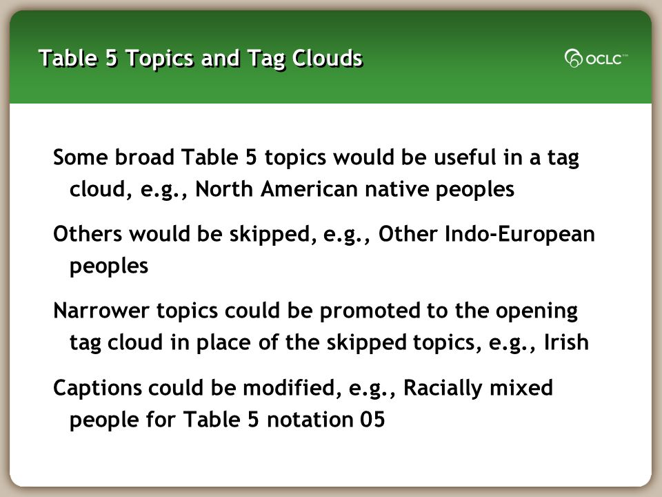 Table 5 Topics and Tag Clouds Some broad Table 5 topics would be useful in a tag cloud, e.g., North American native peoples Others would be skipped, e.g., Other Indo-European peoples Narrower topics could be promoted to the opening tag cloud in place of the skipped topics, e.g., Irish Captions could be modified, e.g., Racially mixed people for Table 5 notation 05