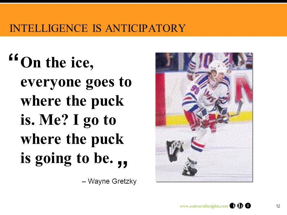 www.outwardinsights.com 12 INTELLIGENCE IS ANTICIPATORY – Wayne Gretzky On the ice, everyone goes to where the puck is.