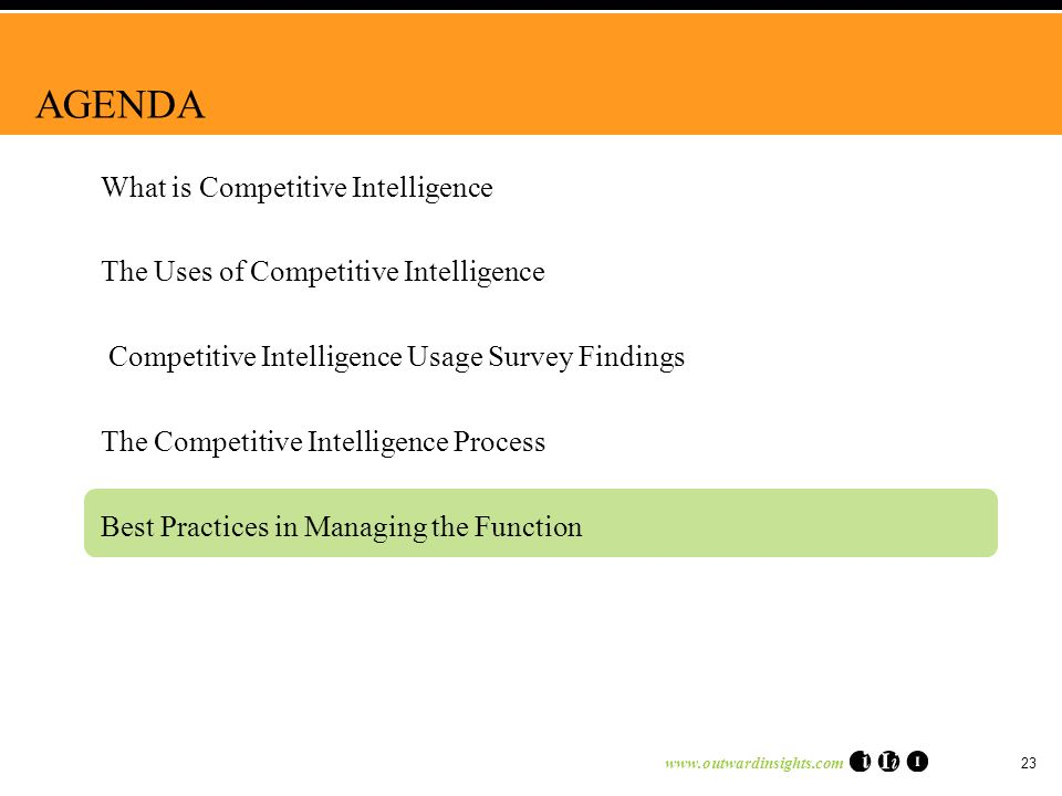 www.outwardinsights.com 23 AGENDA What is Competitive Intelligence The Uses of Competitive Intelligence Competitive Intelligence Usage Survey Findings The Competitive Intelligence Process Best Practices in Managing the Function