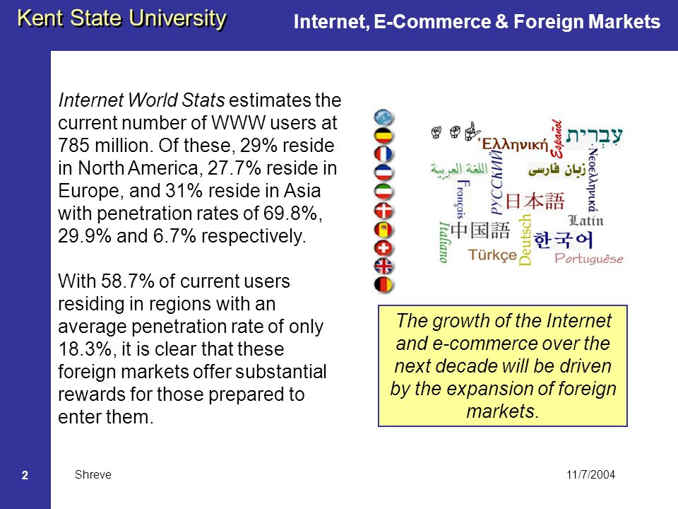 11/7/2004 Kent State University Shreve 2 Internet World Stats estimates the current number of WWW users at 785 million.