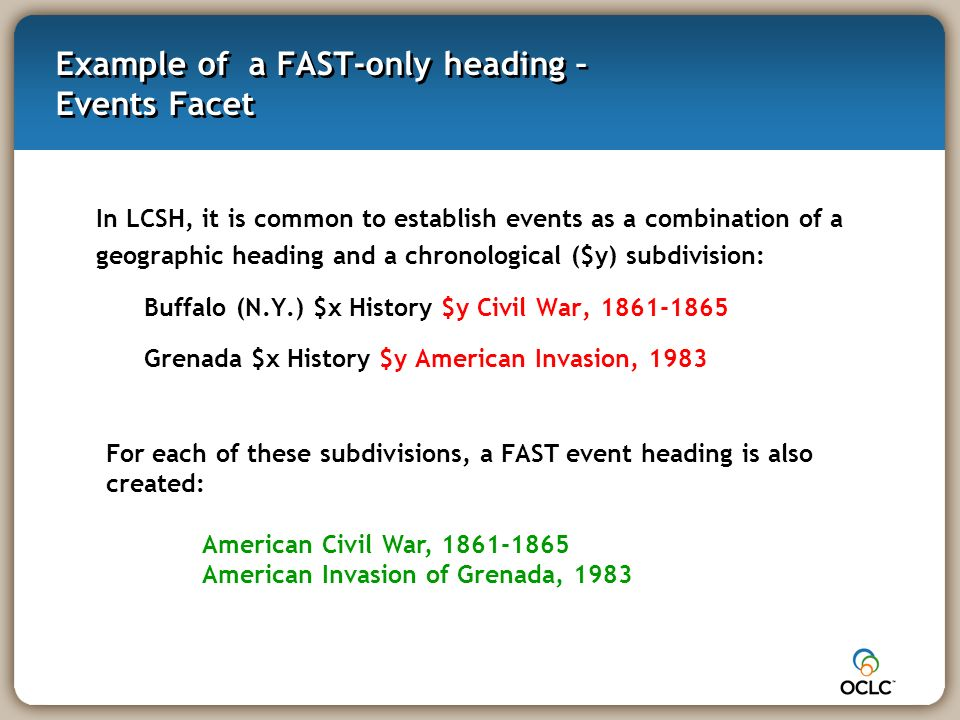Example of a FAST-only heading – Events Facet In LCSH, it is common to establish events as a combination of a geographic heading and a chronological ($y) subdivision: Buffalo (N.Y.) $x History $y Civil War, 1861-1865 Grenada $x History $y American Invasion, 1983 For each of these subdivisions, a FAST event heading is also created: American Civil War, 1861-1865 American Invasion of Grenada, 1983