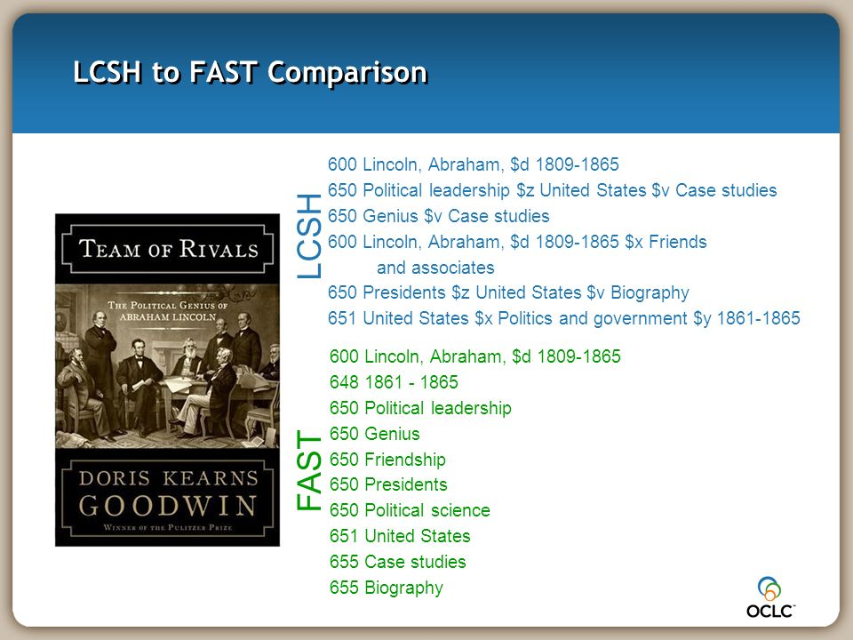 LCSH to FAST Comparison 600 Lincoln, Abraham, $d 1809-1865 648 1861 - 1865 650 Political leadership 650 Genius 650 Friendship 650 Presidents 650 Political science 651 United States 655 Case studies 655 Biography FAST 600 Lincoln, Abraham, $d 1809-1865 650 Political leadership $z United States $v Case studies 650 Genius $v Case studies 600 Lincoln, Abraham, $d 1809-1865 $x Friends and associates 650 Presidents $z United States $v Biography 651 United States $x Politics and government $y 1861-1865 LCSH