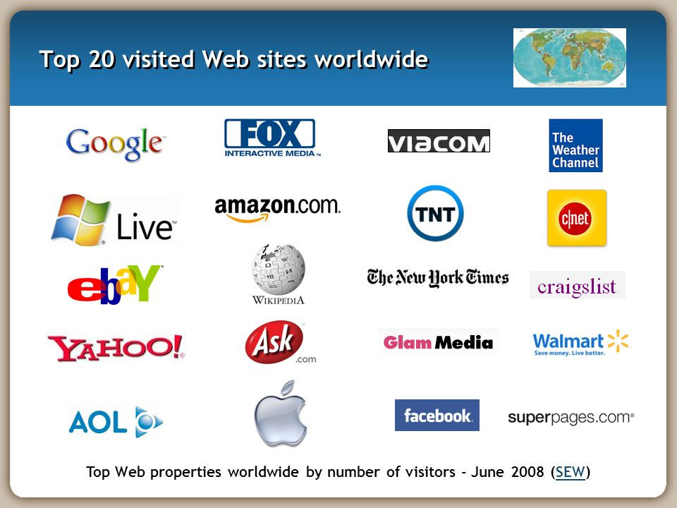 Top 20 visited Web sites worldwide Top Web properties worldwide by number of visitors - June 2008 (SEW)SEW