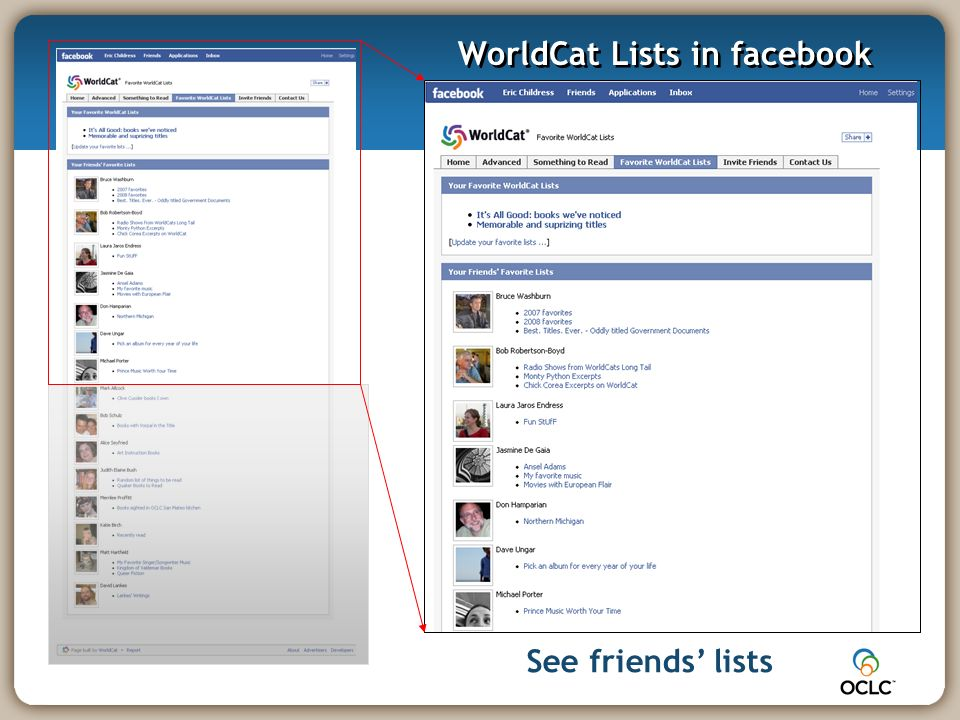 See friends lists WorldCat Lists in facebook