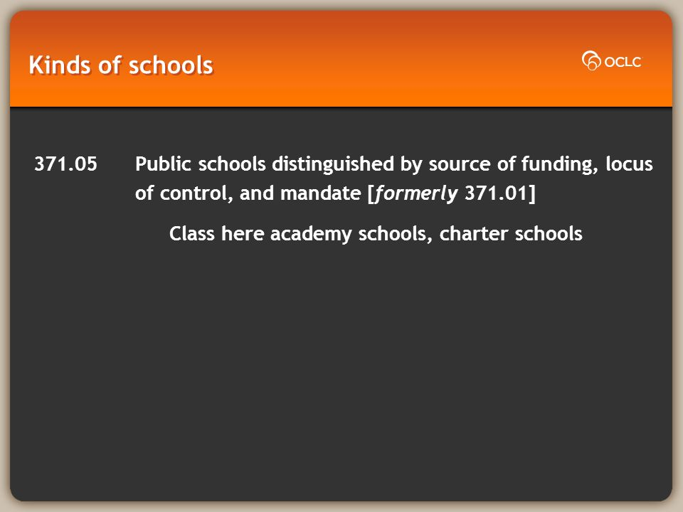 Kinds of schools 371.05Public schools distinguished by source of funding, locus of control, and mandate [formerly 371.01] Class here academy schools, charter schools