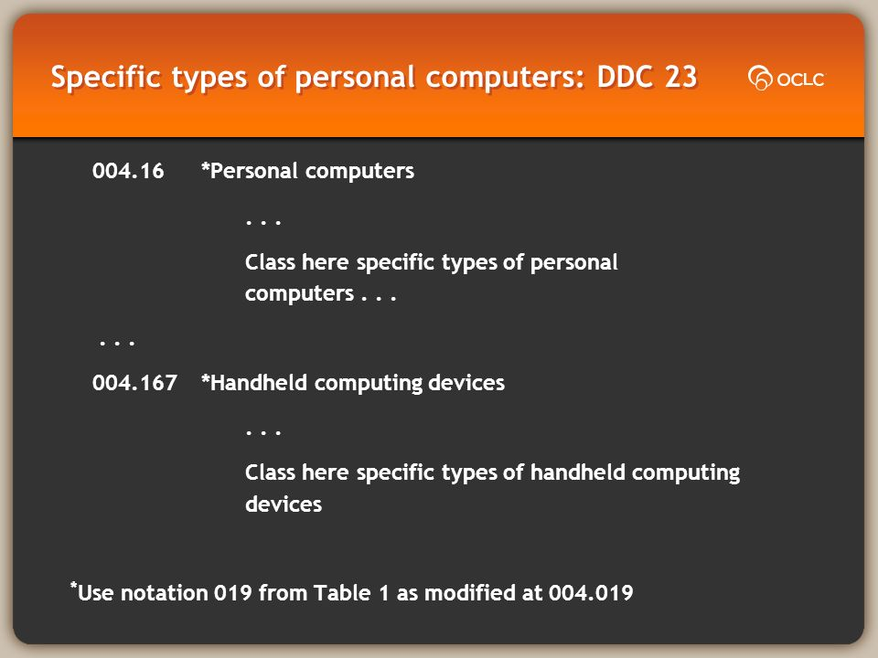 Specific types of personal computers: DDC 23 004.16*Personal computers...