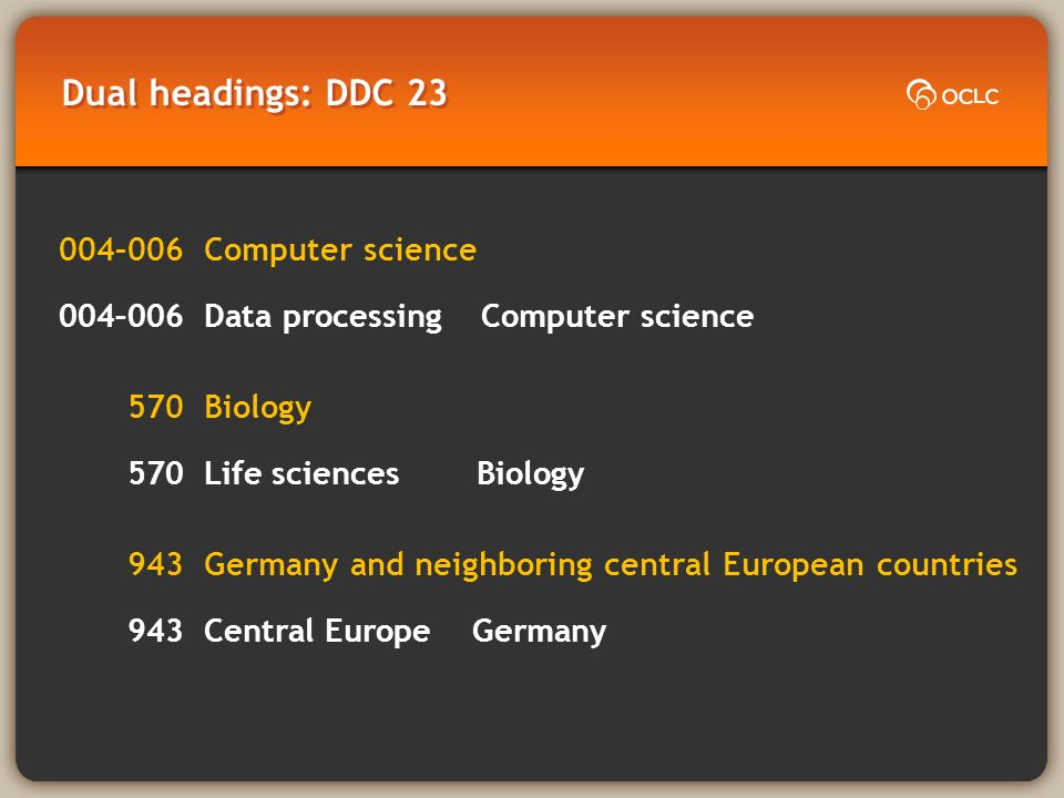 Dual headings: DDC 23 004–006Computer science 004–006Data processing Computer science 570Biology 570Life sciencesBiology 943Germany and neighboring central European countries 943Central Europe Germany