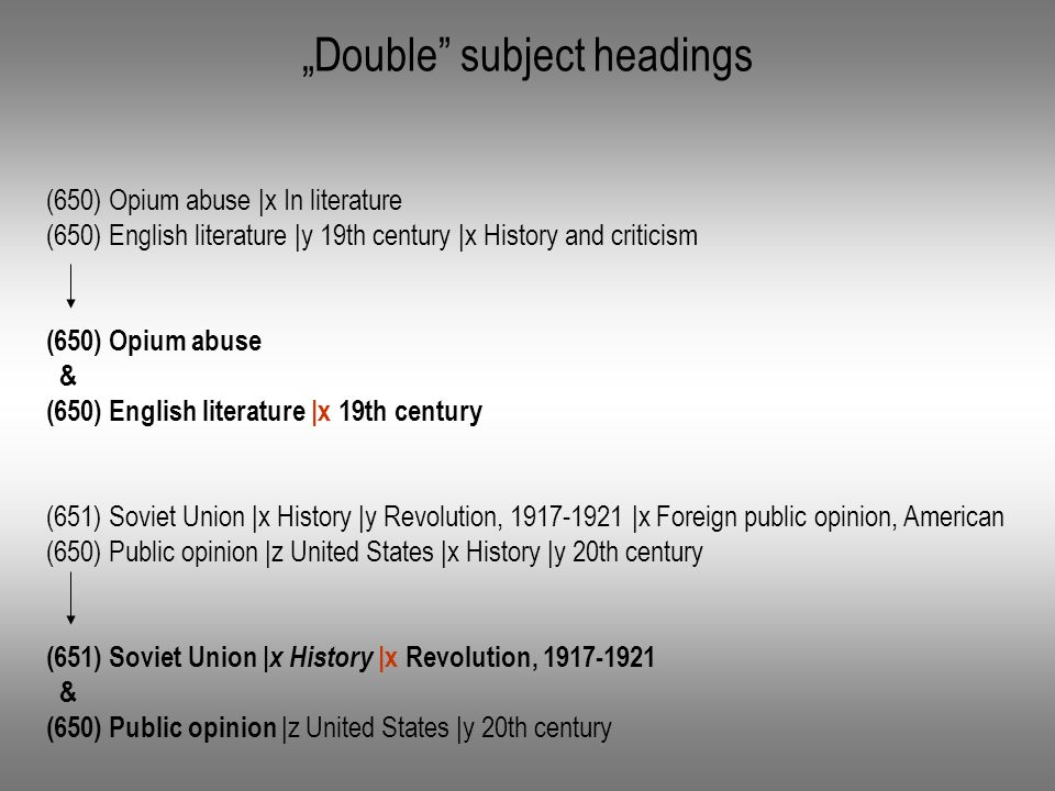 Double subject headings (650) Opium abuse |x In literature (650) English literature |y 19th century |x History and criticism (650) Opium abuse & (650) English literature |x 19th century (651) Soviet Union |x History |y Revolution, 1917-1921 |x Foreign public opinion, American (650) Public opinion |z United States |x History |y 20th century (651) Soviet Union |x History |x Revolution, 1917-1921 & (650) Public opinion |z United States |y 20th century