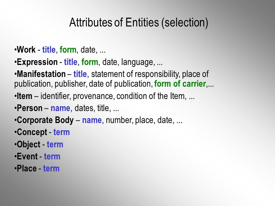 Attributes of Entities (selection) Work - title, form, date,...